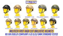 Militech Ballistic Helmet NIJ Level IIIA 3A ISO Certified FAST OCC Dial High Cut XP Cut Aramid Bulletproof Helmet With HelmetBag