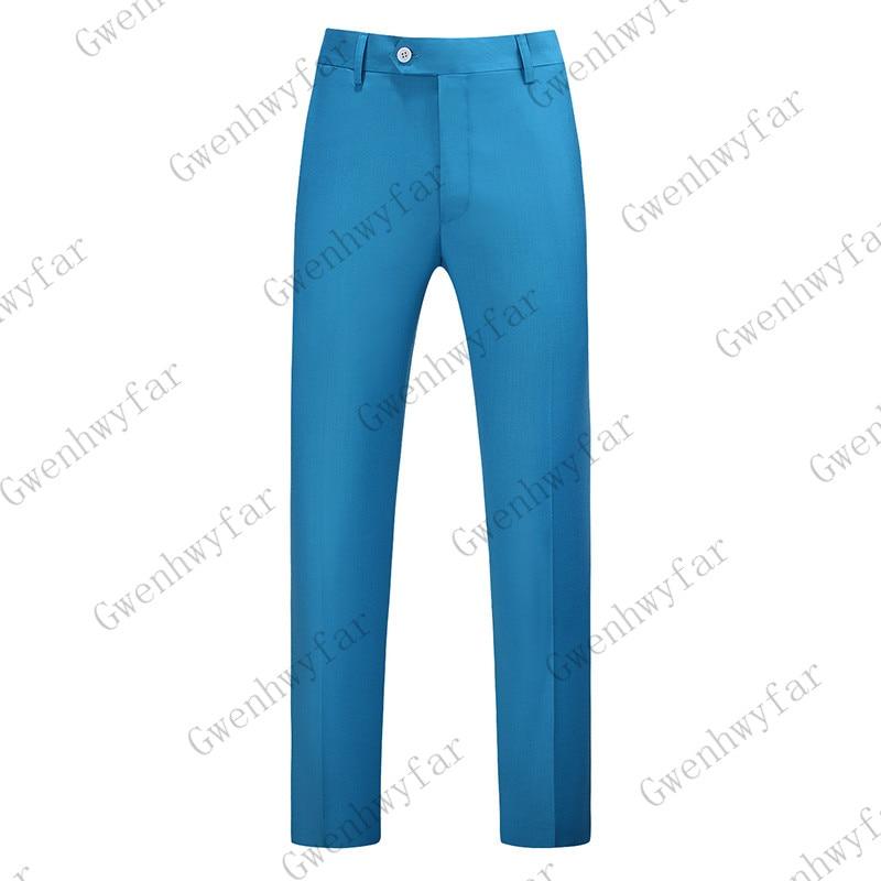 Gwenhwayfar, мужские синие клетчатые брюки, деловой костюм, брюки, деловые повседневные облегающие брюки, Классический Клетчатый костюм, брюки для свадьбы - Цвет: sea blue