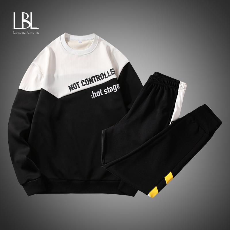 Sweatshirt Men Hooded Streetwear Hoodies Set Men 2019 Hip Hop Black Oversized Hoodie Suit Sets Men Gym Tracksuits Pullover Hoody