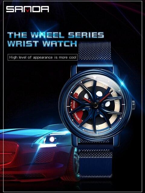 SANDA 2020 Hot Sell Men Watch Racing & Furious Rotating Dial Wheel Watches Magnet Clasp Quartz Wristwatch Gift Relogio Masculino
