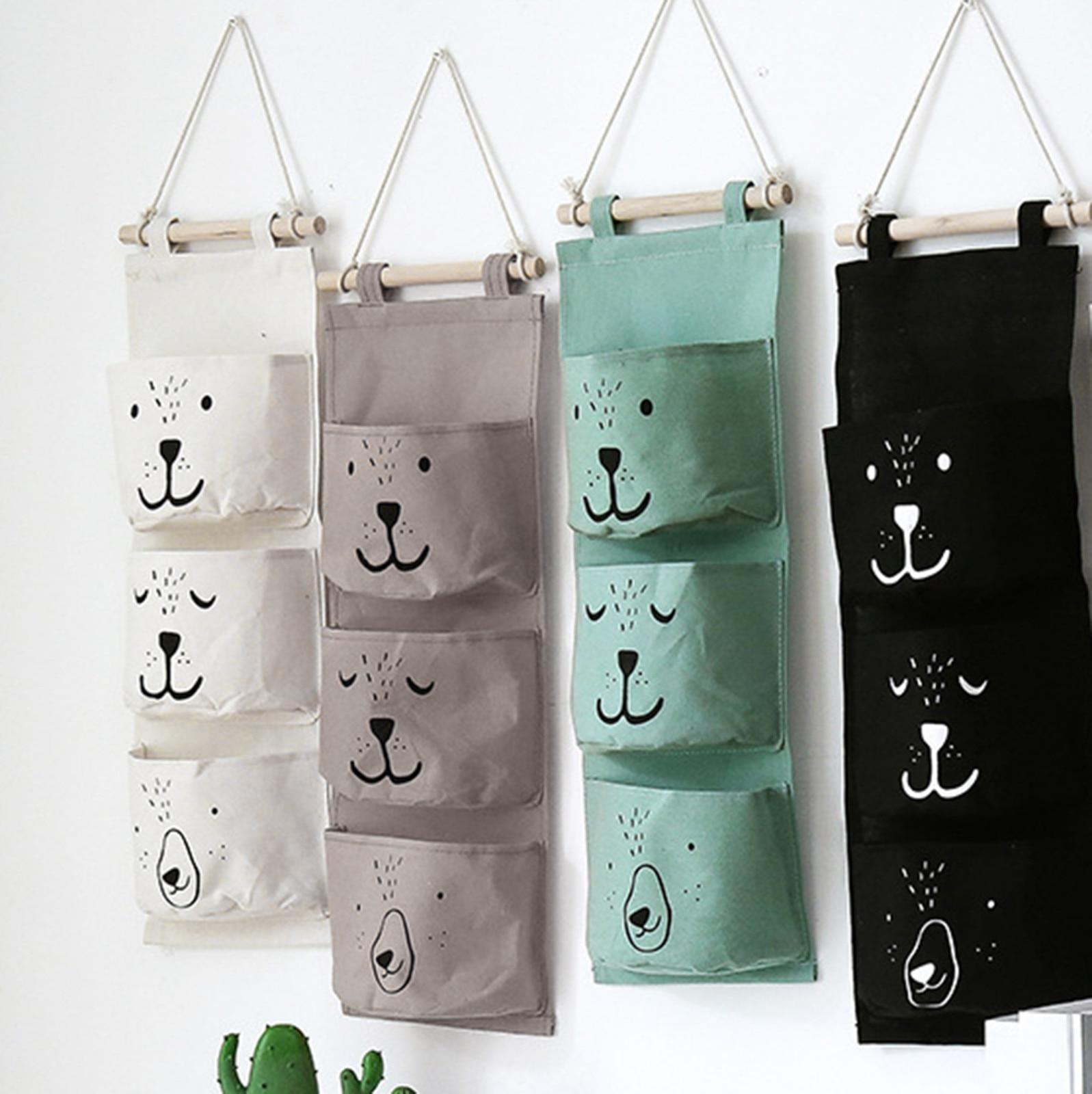 3 кармана милые настенная подвесная сумка для хранения белья Одежда Организатор гардероб для детей сумка для хранения Органайзер для комна...