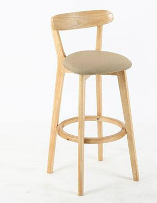 European Style Solid Wood Bar Chair Modern Simple High Stool Back Bar Chair Cash Register Bar Stool Front Desk High Home