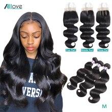 Allove שקוף סגר עם חבילות גוף גל חבילות עם סגירה מלזי שיער טבעי 3 חבילות עם סגירת ללא רמי שיער