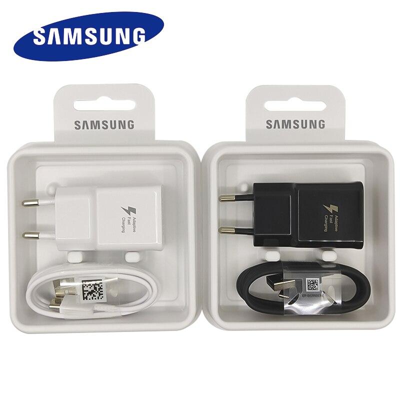 Samsung carregador rápido adaptador usb tipo c, plugue da ue cabo para galaxy s10 s8 s9 plus note 8 9 10 a3 a5 a7 2017
