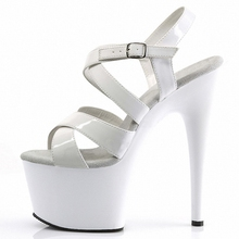 New style Trend paint sandals Roman Platform 7 inches Hollow Buckle strap Sandals 17CM women sexy high heels Pole dancing Mature mature temptation mysterious sexy fashion ultra high documentary shoes black roman style hollow out super high heels