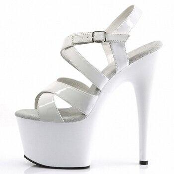 New style Trend paint sandals Roman Platform 7 inches Hollow Buckle strap Sandals 17CM women sexy high heels Pole dancing Mature