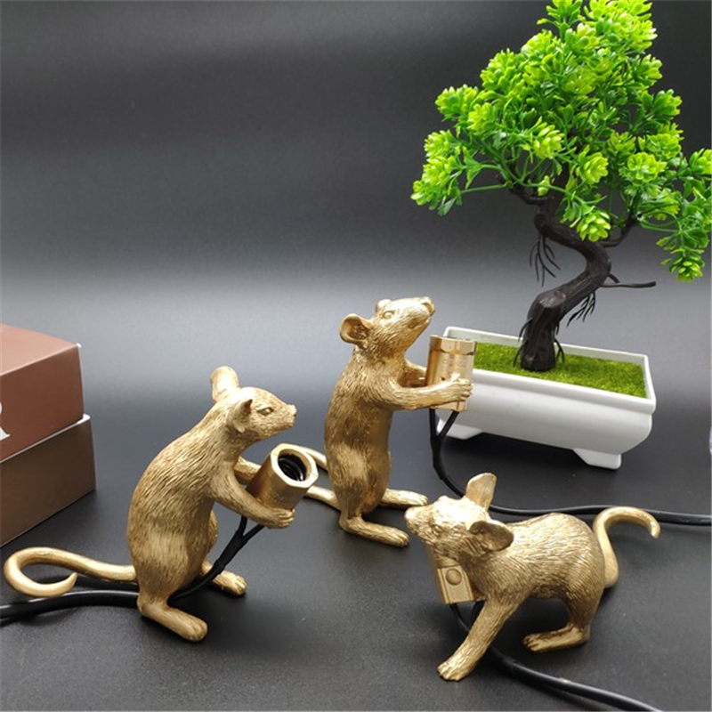 Nordic Resin Mouse Lamp E12 White Animal Rat Mouse Desk Lamps Lights Resin Night Lights Cute Art Gold Mouse Table Lamps Lights