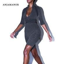 ANJAMANOR на молнии с поясом, вязаный сексуальный Облегающий комбинезон, женская модная одежда, Цельный Наряд, короткий комбинезон, клубный комбинезон, D92-AD52