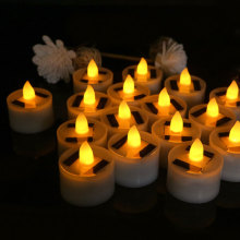 6 Pieces Solar Flameless LED Candles Fake Flickering Tea Lights Outdoor Garden Light Romantic Wedding Party Decoration