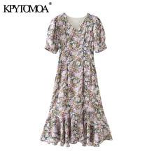 KPYTOMOA Women 2020 Chic Fashion Floral Print Ruffled Midi Dress Vintage V Neck