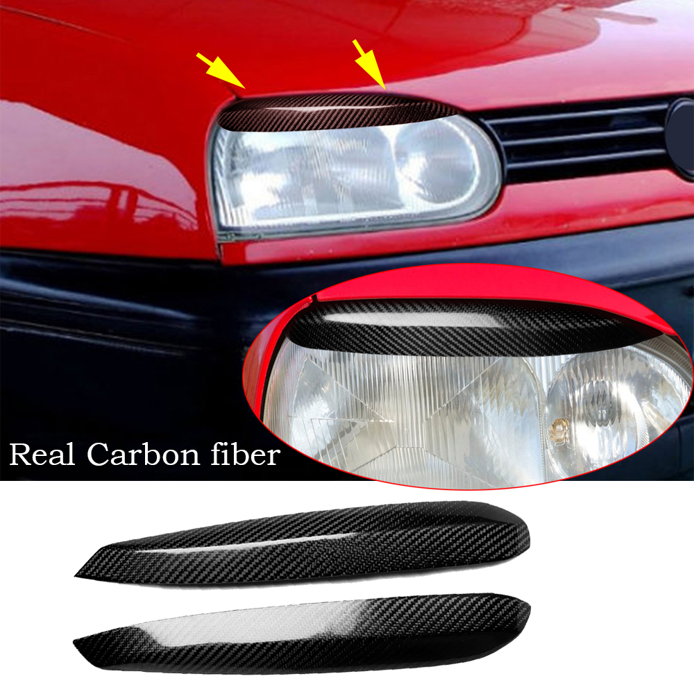 2*Real Carbon Fiber <font><b>Headlight</b></font> Eyelid eyebrow Cover For <font><b>VW</b></font> <font><b>Golf</b></font> 3 <font><b>MK3</b></font> 1992-1999 image