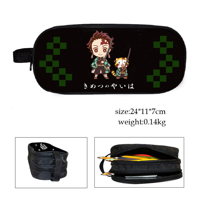 Janpanese Demon Slayer: Kimetsu No Yaiba Kamado Tanjirou Pencil Bag Student High-capacity Animation Peripheral Stationery Box