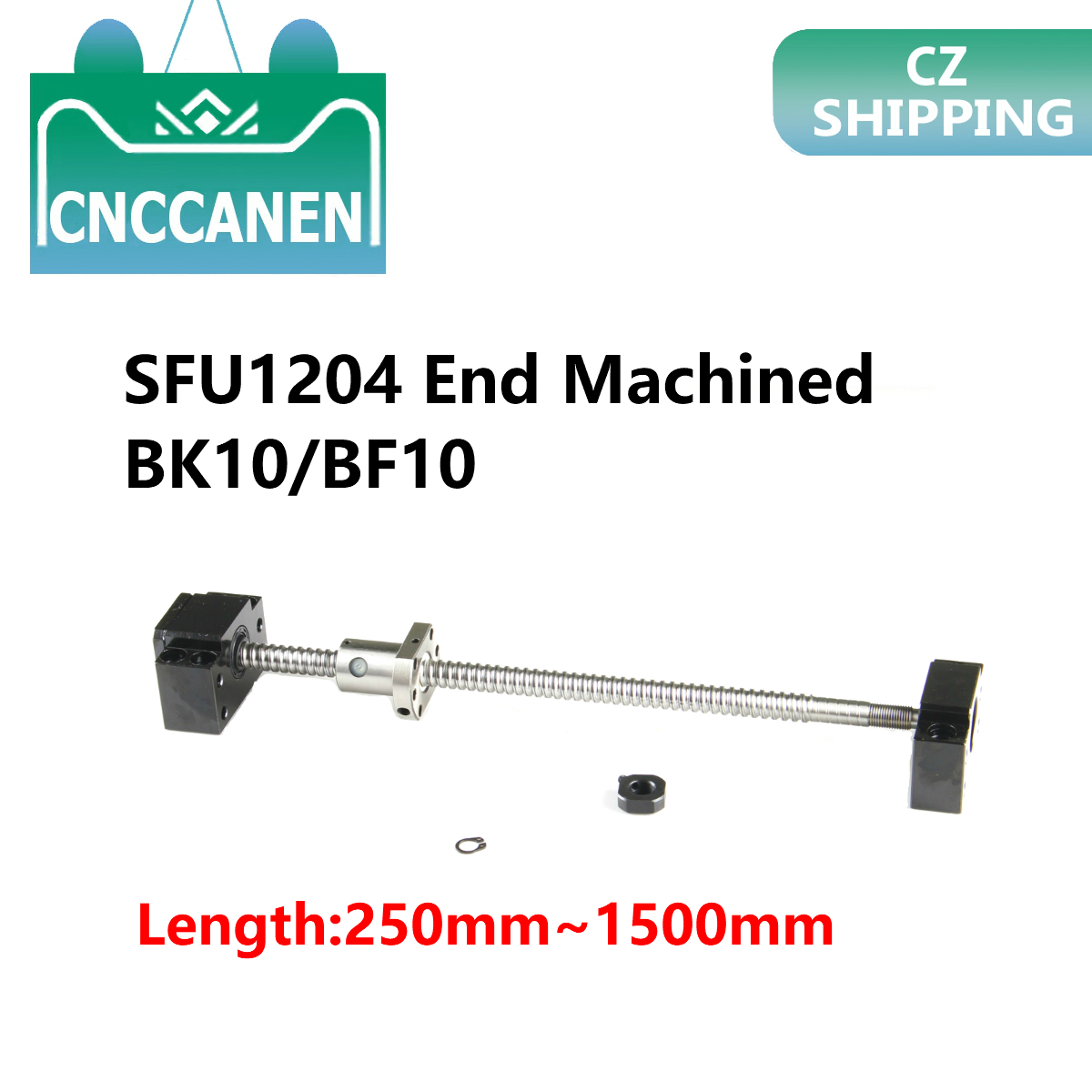 SFU1204-250mm 300 350 400 500 550 600 800 1000 1500 Mm Roller Ball Screw End Machined With Single Ball Nut & BK10/BF10 CNC