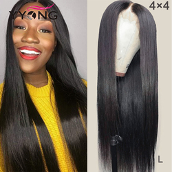 YYong 4x4 i 1x6 T część HD przejrzyste koronki przodu peruki peruwiański prosto zamknięcie koronki peruka dla kobiet Remy przodu włosów ludzkich peruka Low