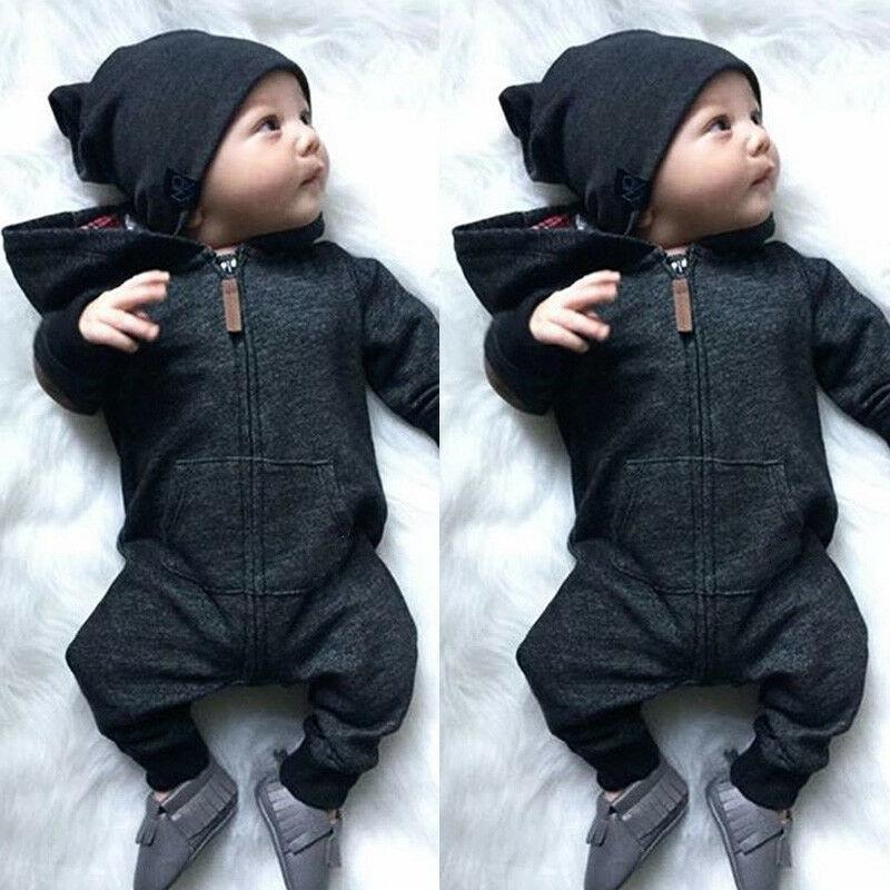 2019 г., теплый хлопковый комбинезон на молнии с длинными рукавами для новорожденных мальчиков и девочек, комбинезон, одежда с капюшоном, свитер, одежда для детей от 0 до 24 месяцев|Ромперы|   | АлиЭкспресс