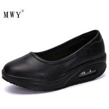 MWY Black Leather Shoes Women Loafers Slip On Sneakers Platform Damen Schuhe Nurse Ladies Casual Flats