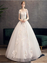 Creamy-White Color Wedding dress Lace Beading Flower Full Length Ball Gown Bridal werdding dress(China)