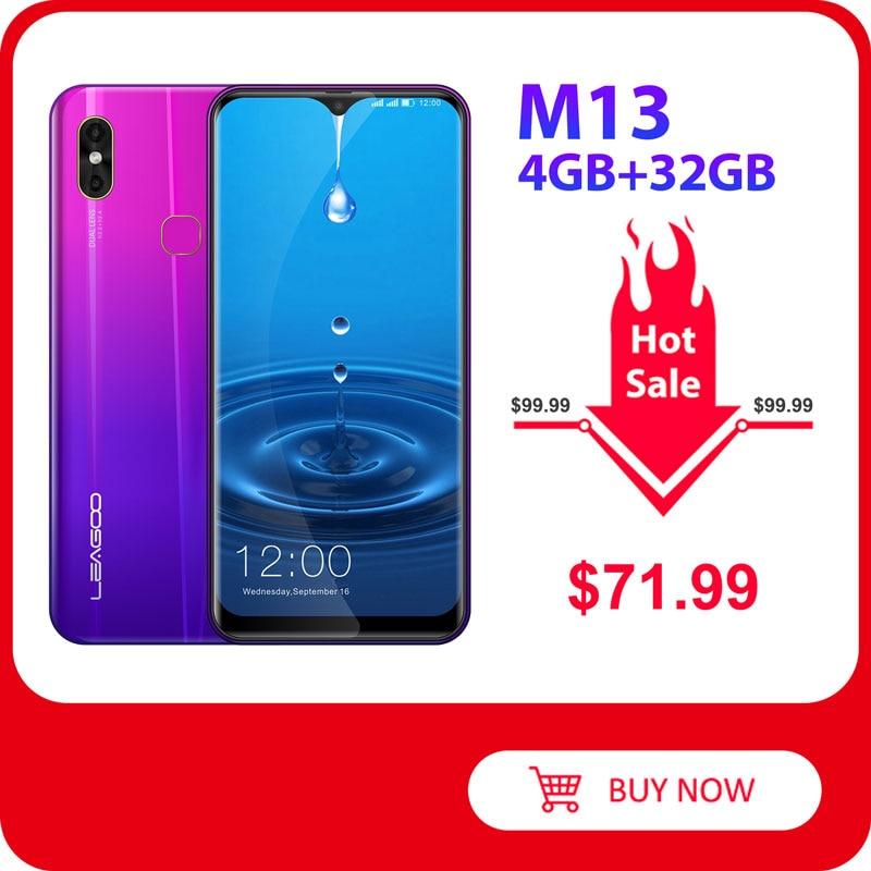 LEAGOO M13  Android 9.0 Smartphone 6.1'' HD  IPS Waterdrop Display 4GB RAM 32GB ROM MT6761 3000mAh Dual Cams 4G Mobile Phone|Cellphones| |  - title=