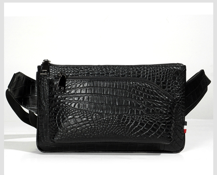 Crocodile Leather Men Casual Outdoor Belt Bag Waist Pack Bags