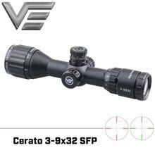 Ottica di vettore Cerato 3 9x32 Caccia Riflescope 1/4 MOA 25.4 millimetri Monotube Tactical Sniper Scope Ultra compatto misura per. 308 win .338