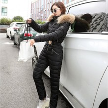 New Winter Hooded Jumpsuits Parka Elegant Cotton Padded Warm Sashes Ski Suit Zipper One Piece Women Casual Tracksuits