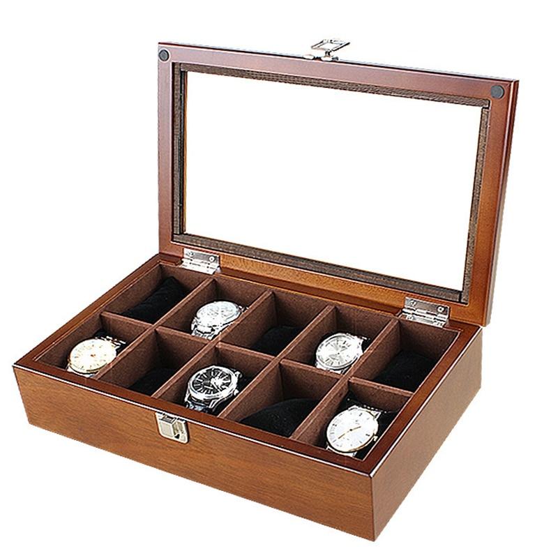 Nouveau bois montre boîte d'affichage organisateur noir haut montre boîtier en bois mode montre stockage emballage coffrets cadeaux étui à bijoux