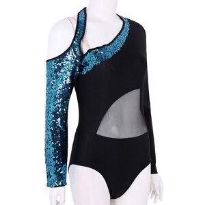 Image 3 - נשים מבריק פאייטים ארוך שרוולים רשת אחוי בלט התעמלות בגד גוף בלרינה רווה שלב ביצועים לירי ריקוד תלבושות