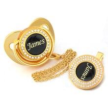 Personalisierte Name Goldene Bling Schnuller und Schnuller Clip Einzigartige Luxus Dummy BPA FREI Baby Chupeta Tropfen Verschiffen Großhandel