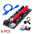 1/6 шт. PCI-E Pcie Riser 009 Express 1X 4x 8x 16x расширитель PCI E USB Riser 009S двойная 6-контактная карта адаптера SATA 15pin для майнера BTC