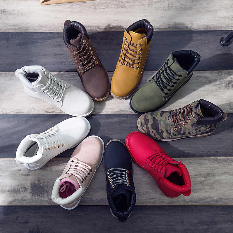 2019 heißer Neue Herbst Frühen Winter Schuhe Frauen Flache Ferse Stiefel Mode warm Halten frauen Stiefel Marke Frau Knöchel botas Camouflage
