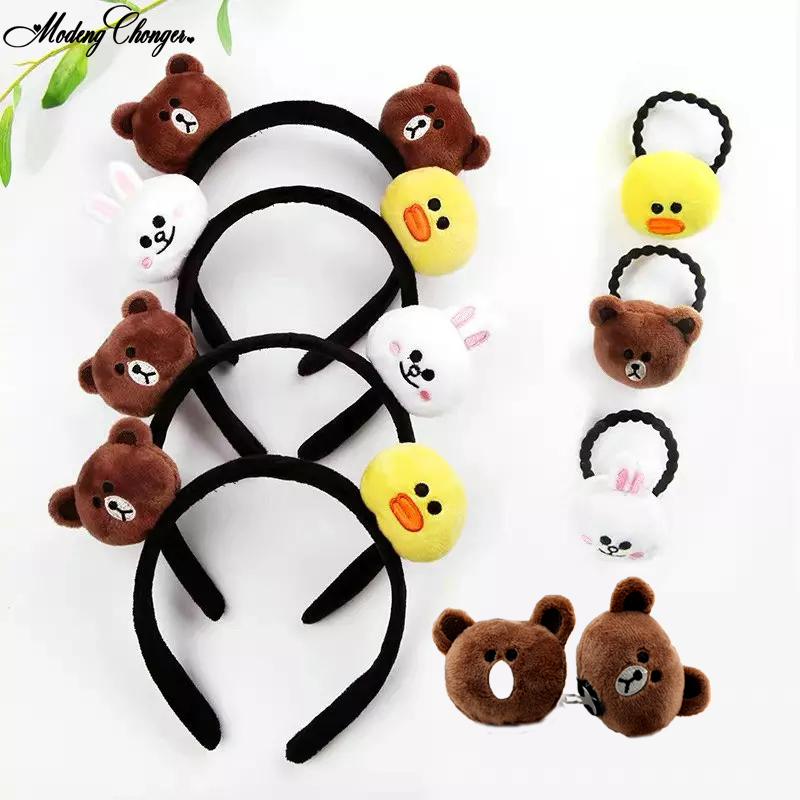 Infant Baby Animal Print Headwear Elastic Hair Headband Blue Bear Yellow Duck