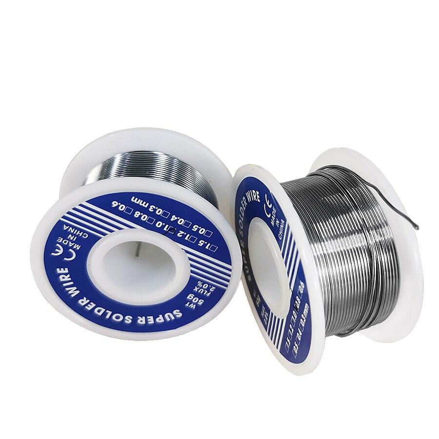 0.8mm 1.0mm 20g 50g 100g fio de solda estanho chumbo melt rosin núcleo solda fio de solda rolo não fluxo limpo 2.0%|Arames de solda|   -
