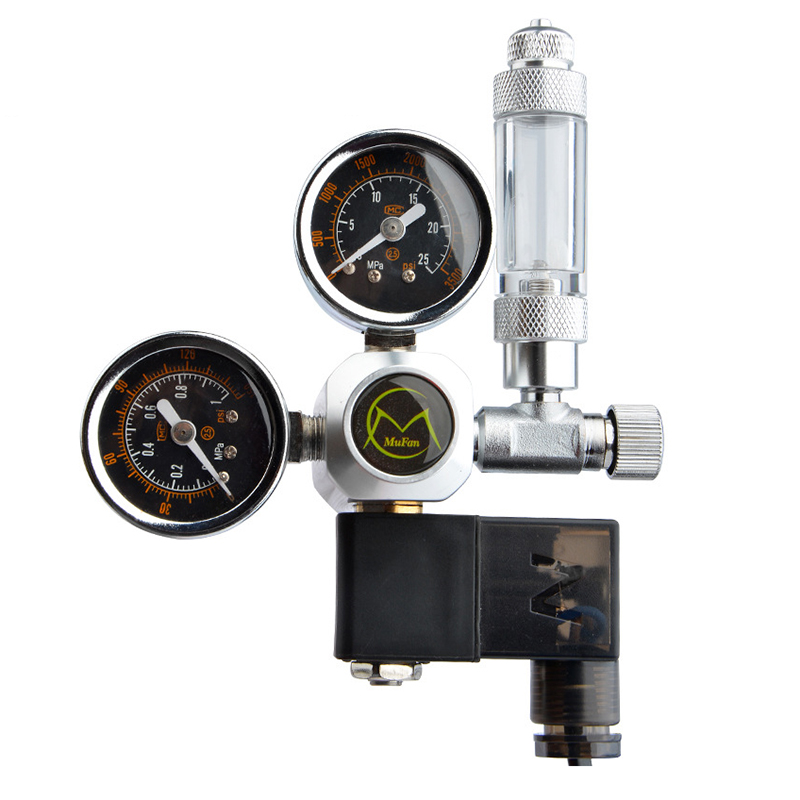 Fish Tank CO2 Regulator Magnetic Solenoid Check Valve CO2 Control Pressure Reducing Aquarium Bubble Counter Accessories