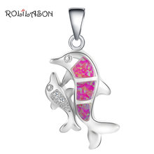 Attractive Two Dolphins Designer Beautiful Purple Fire Opal Silver Stamped Necklace Pendants Fashion jewelry OP526(China)