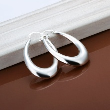 Big Oval Hoop Earring Fashion Jewlery for Women 925 Sterling Silver
