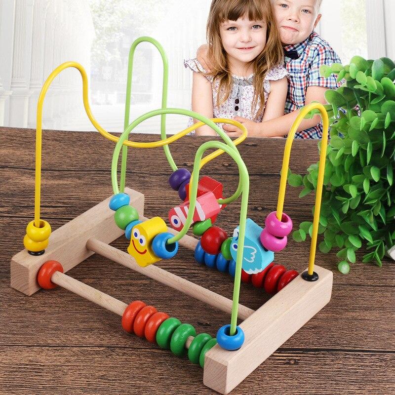 Infants Children Baby Wood Oceans Bead-stringing Toy Building Blocks Bead Toy Multi-functional Early Education Beaded Bracelet C