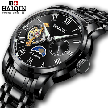 HAIQIN 2020 Mens Mechanical watches top brand luxury watch men Automatic clock men Tourbillon waterproof watch relogio masculino kinyued perpetual calendar watch men luxury fashion tourbillon mens mechanical watches automatic top brand man wristwatches