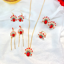 S925 Silver Needle Retro Beijing Opera Facial Earring Womens Personality Pendants Chinese Style Drill Mask Ear.