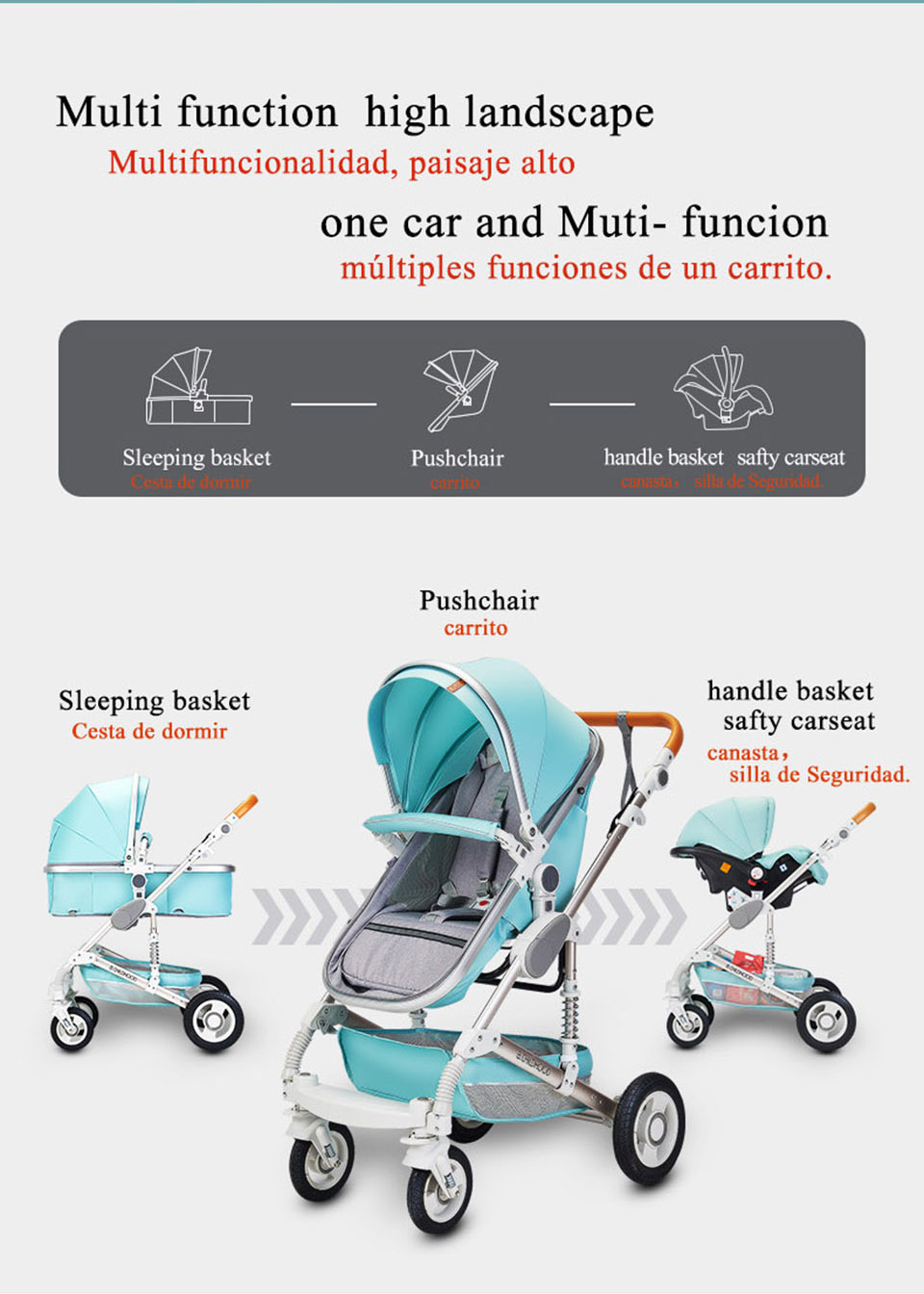 Baby Stroller 3 in 1 luxury Infant Stroller Luxury Newborn Foldable Anti-shock High View Carriage baby trolley baby pram