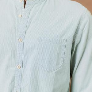Image 3 - SIMWOOD standı yaka Dikey çizgili gömlek erkekler % 100% pamuk klasik denim slim fit minimalist rahat gömlek CS135