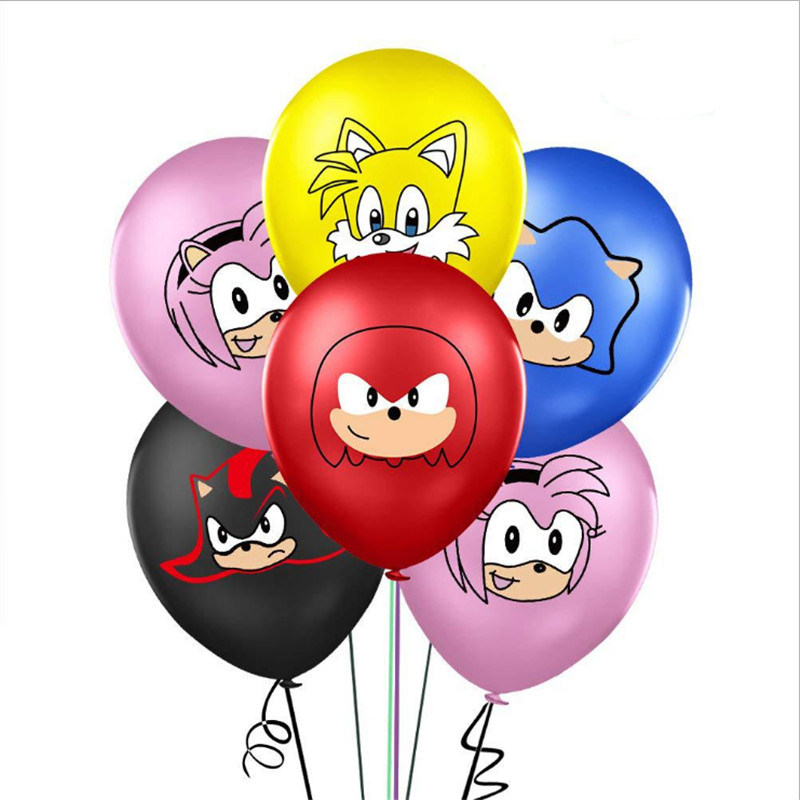 Sonic The Hedgehog Anniversary Birthday Party Decoration Supplies 12 Inch Rubber Balloons Packaged Combination 10pcs Ballons Accessories Aliexpress