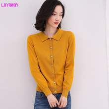 2019 autumn new Korean fashion womens solid color lapel cotton long-sleeved single-breasted knitwear