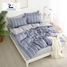 Liv-Esthete Striped Bedding Set Double Queen Duvet Cover Adult Bedspread Flat Sheet Decor Bed Linen Home Textiles Bedclothes