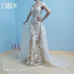 Image 4 - UMK High end Lace Mermaid Wedding Dress 2020 Sexy Backless Short Sleeve Detachable Train Wedding Gowns