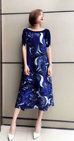 issey Super fairy French niche dress new folds plus size fashion loose long print dress free shipping