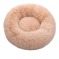 Beige yellow-Round Cat Beds House Soft Long Plush Best Pet Dog Bed For Dogs Basket Pet