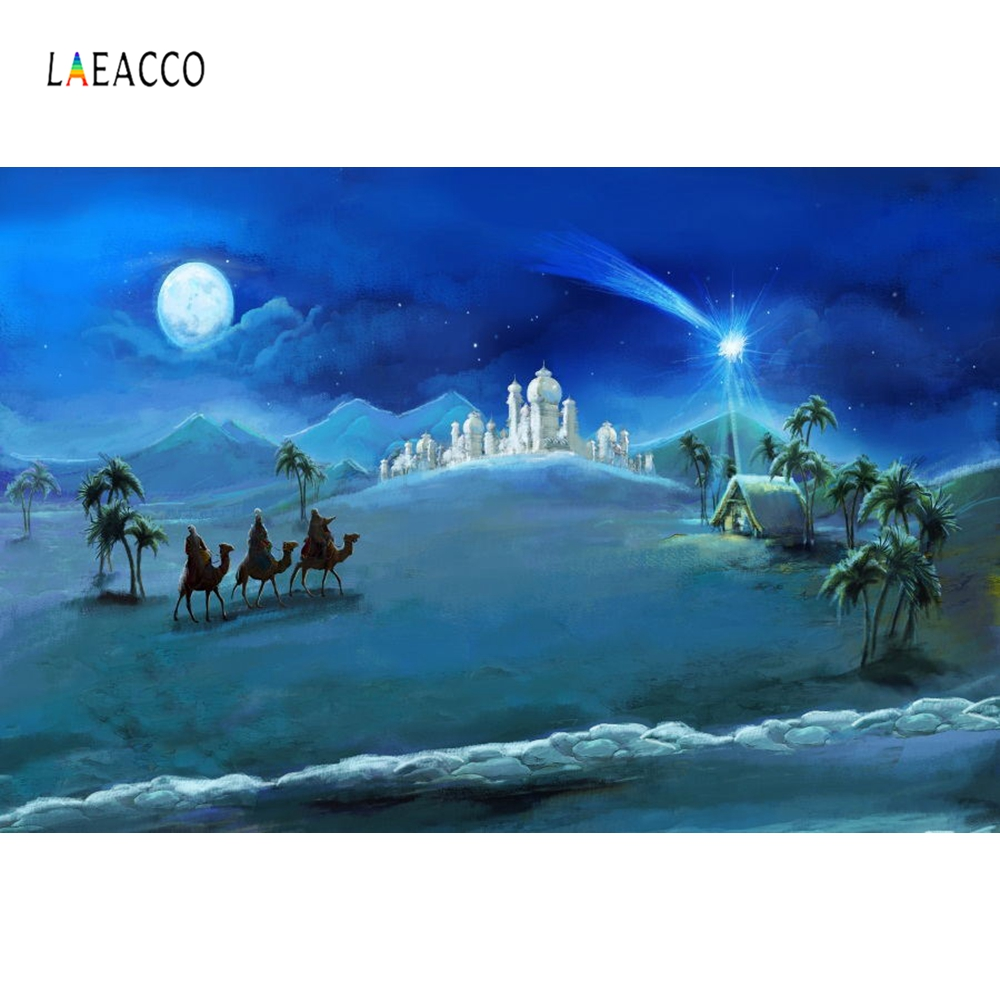 Laeacco Christ Jesus Nativity Night  Scene Photography Background Vinyl Customized Seamless Backdrops Props For Photo Studio