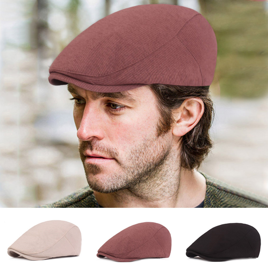 GENTS PEAKED PEAK PURE COTTON CORD FLAT CAP TRADITIONAL WORKING MAN CAP