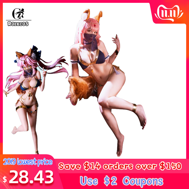 ROLECO Game FGO Fate Grand Order Cosplay Costume Tamamo No Mae Cosplay Sexy Costume Swim Suits For Women Cosplay Costume