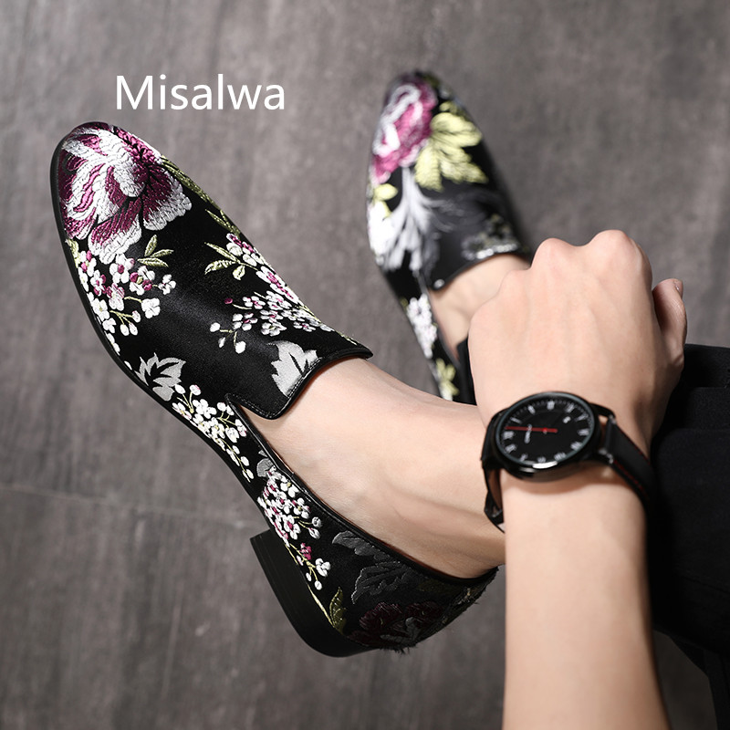 Misalwa Men Black-toned Multicolor Moccasins Luxury Social Loafers Larege Size Floral Embroidery Wedding Shoes Adult Driving